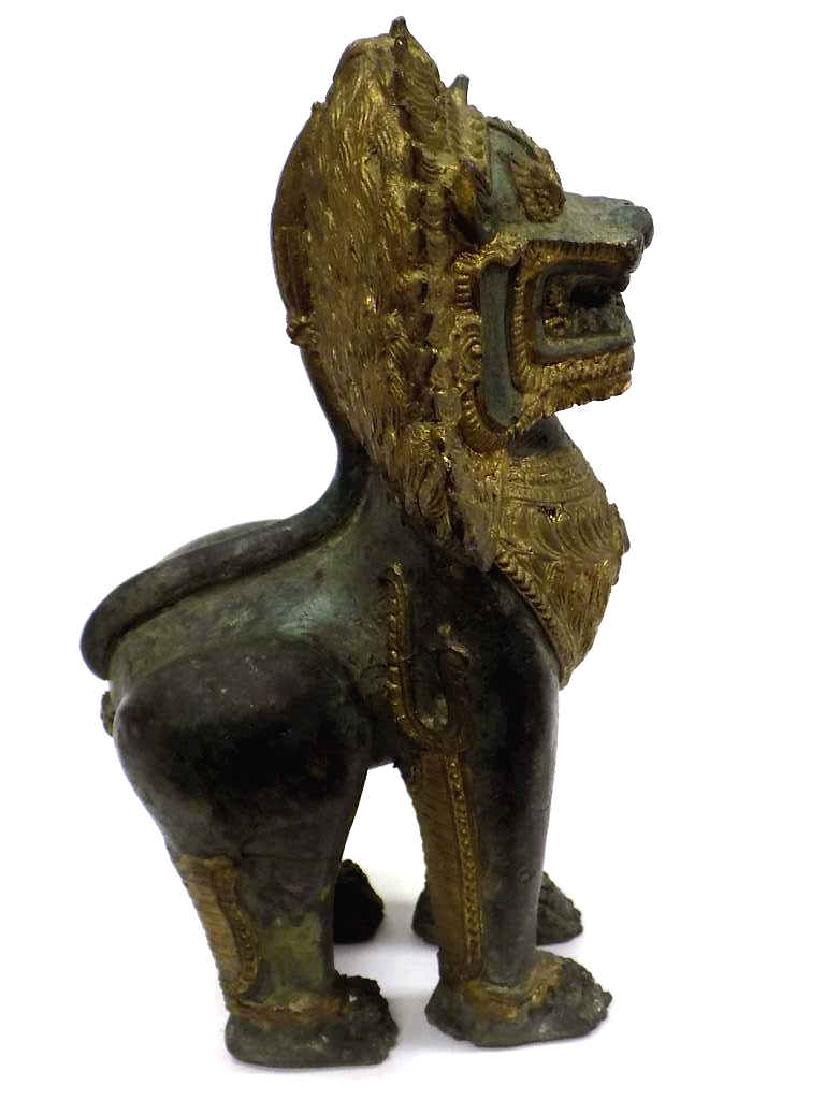CHINESE ARCHAIC FORM BRONZE TEMPLE GUARDIAN LION - 5