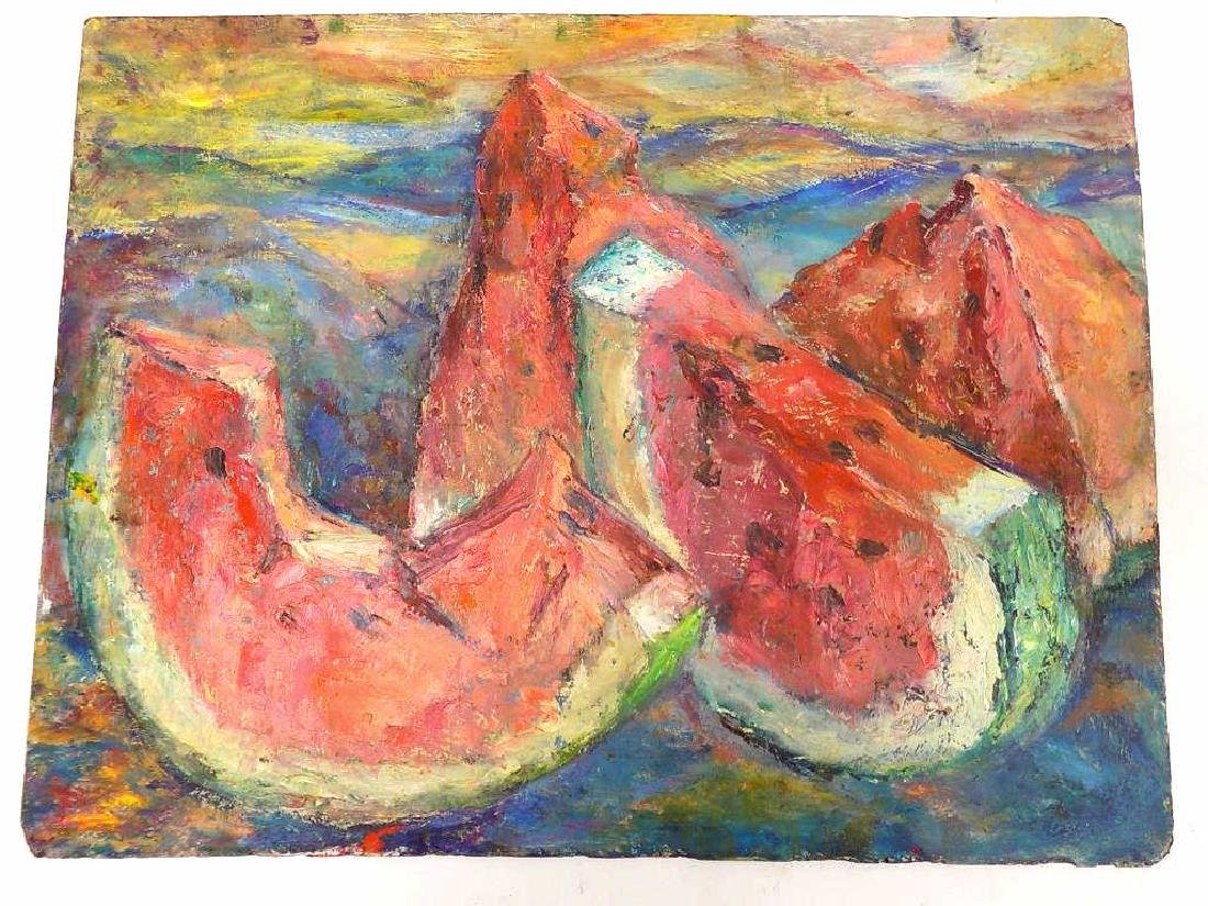ABSTRACT WATERMELONS STILL LIFE PAINTING