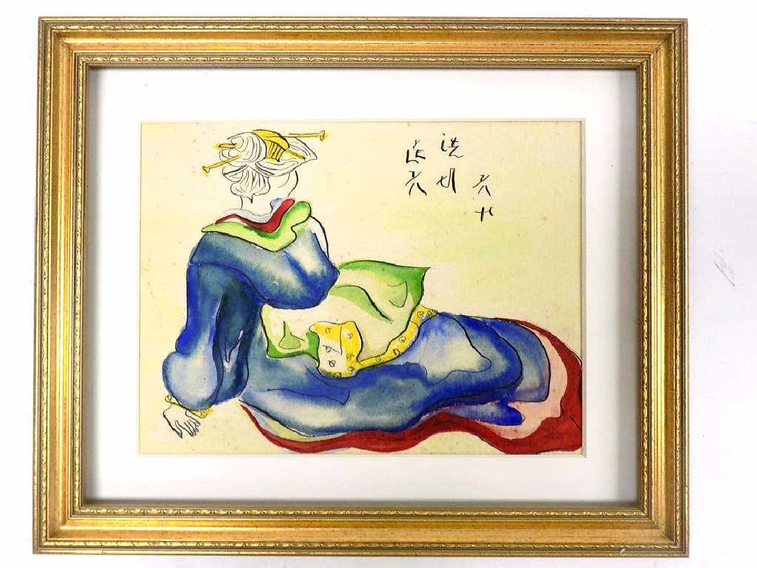 CHINESE SIGNED GEISHA INK & WATERCOLOR PAINTNG