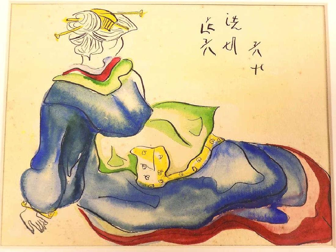 CHINESE SIGNED GEISHA INK & WATERCOLOR PAINTNG - 2