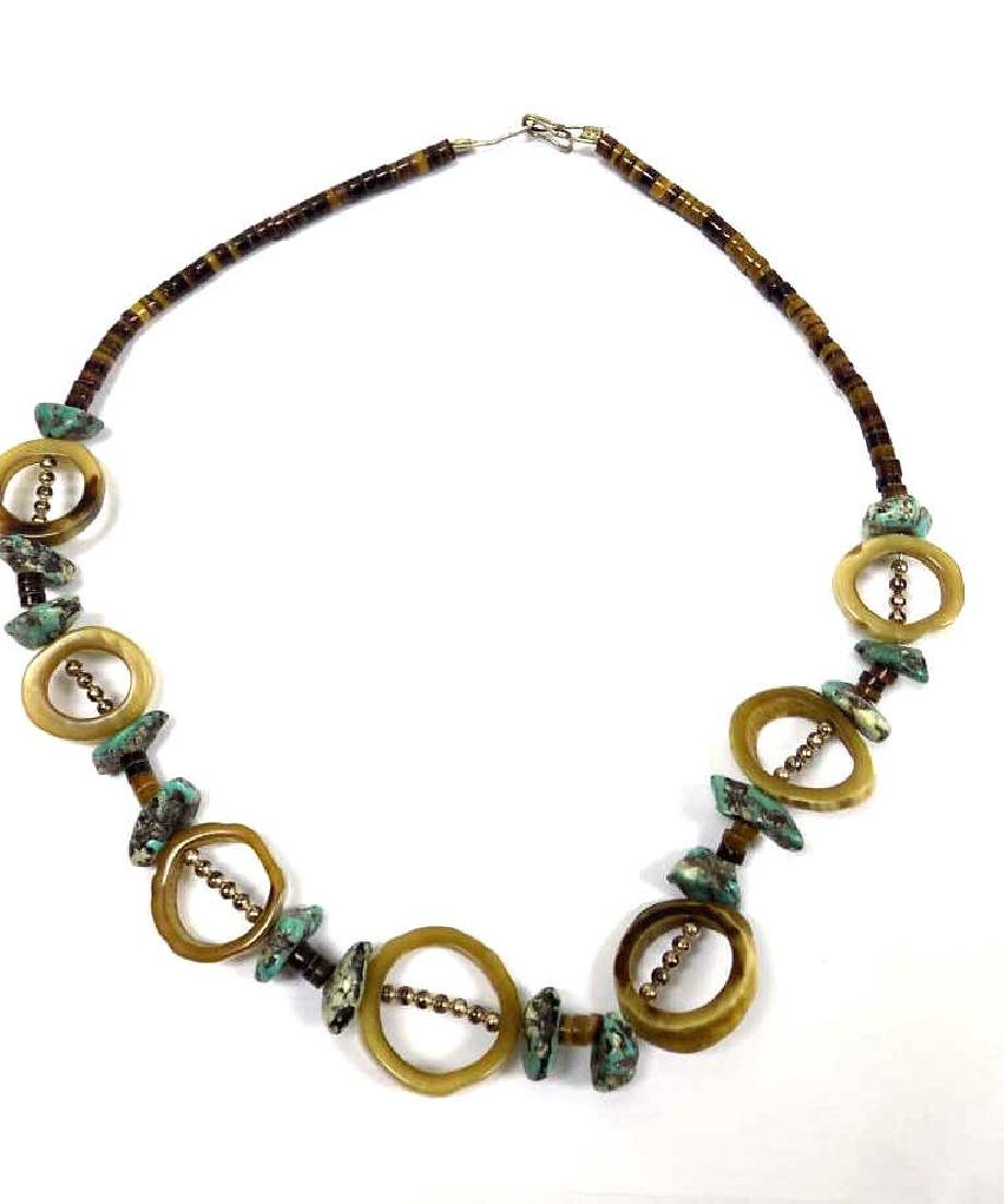 NATIVE AMERICAN INDIAN TURQUOISE & BONE NECKLACE