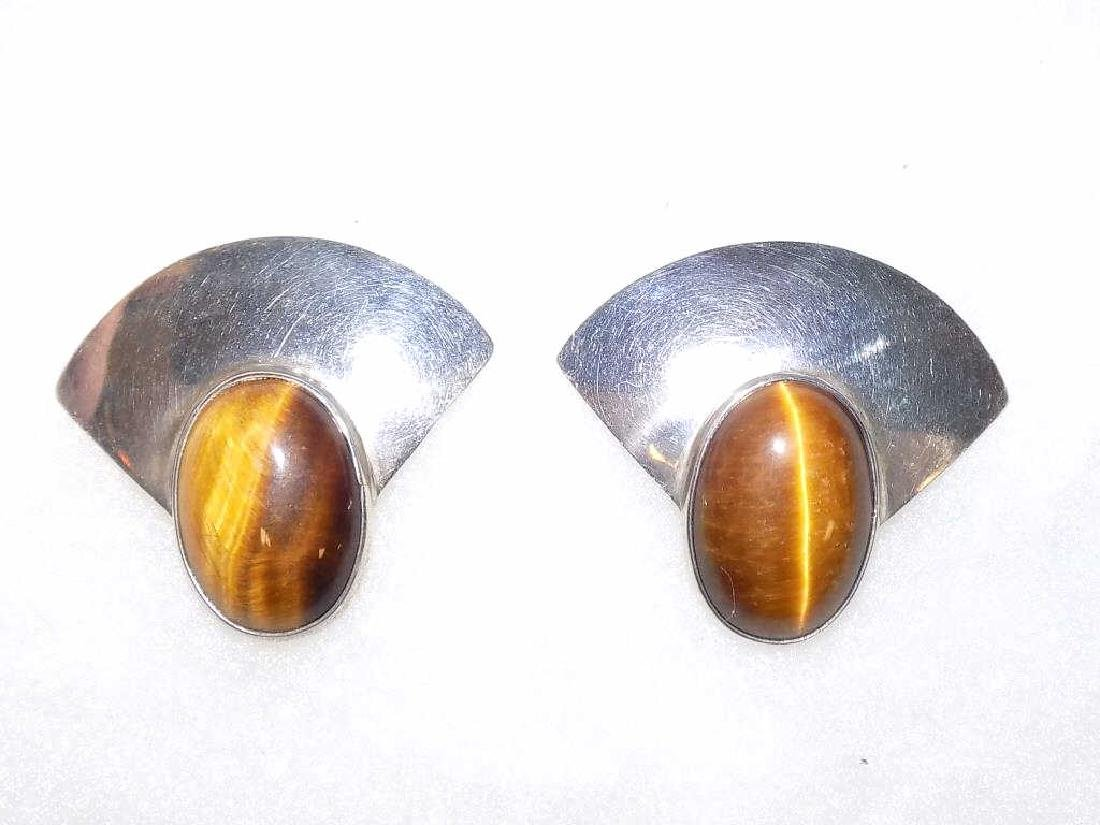 CM SIGNED MEXICAN STERLING CATS EYE EARRINGS