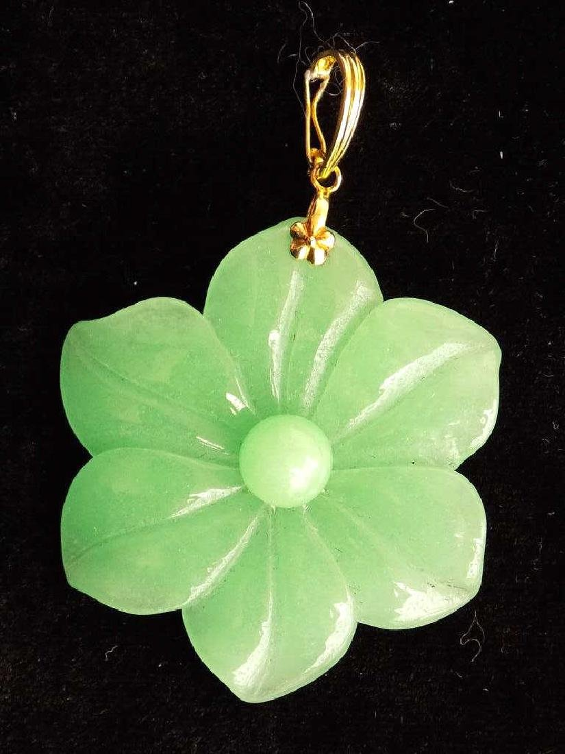 CHINESE 14K GOLD JADE LOTUS NECKLACE PENDANT