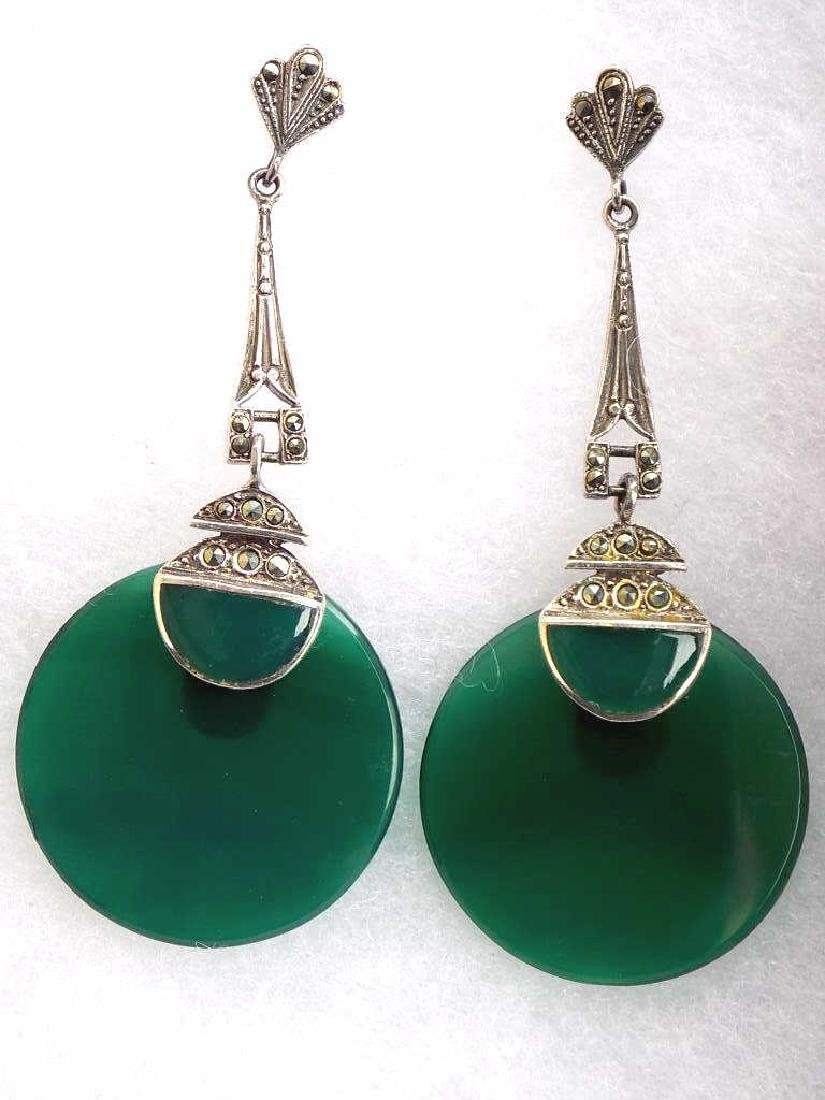 ART DECO STERLING MARCASITE & GREEN STONE EARRINGS