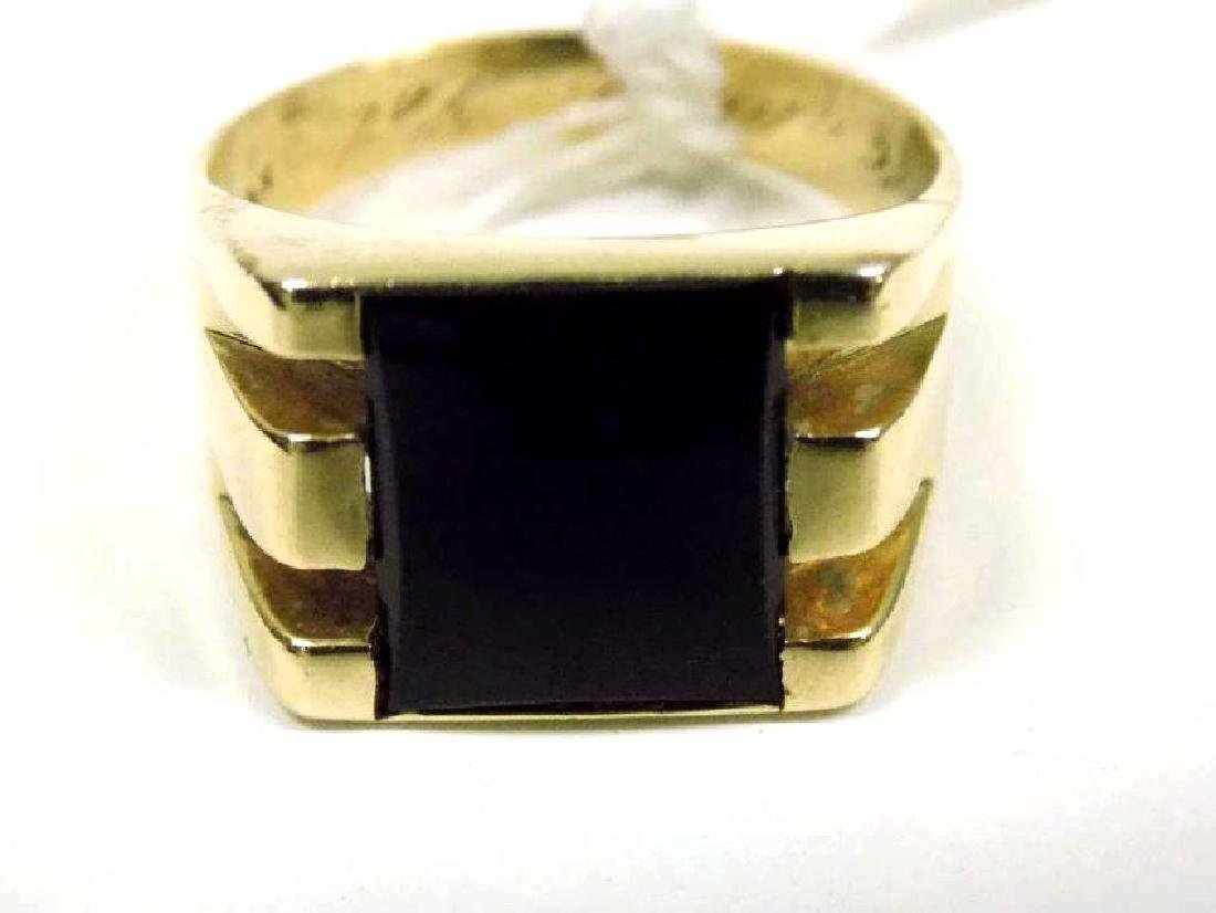 DECO 14K YELLOW GOLD & ONYX MAN'S RING