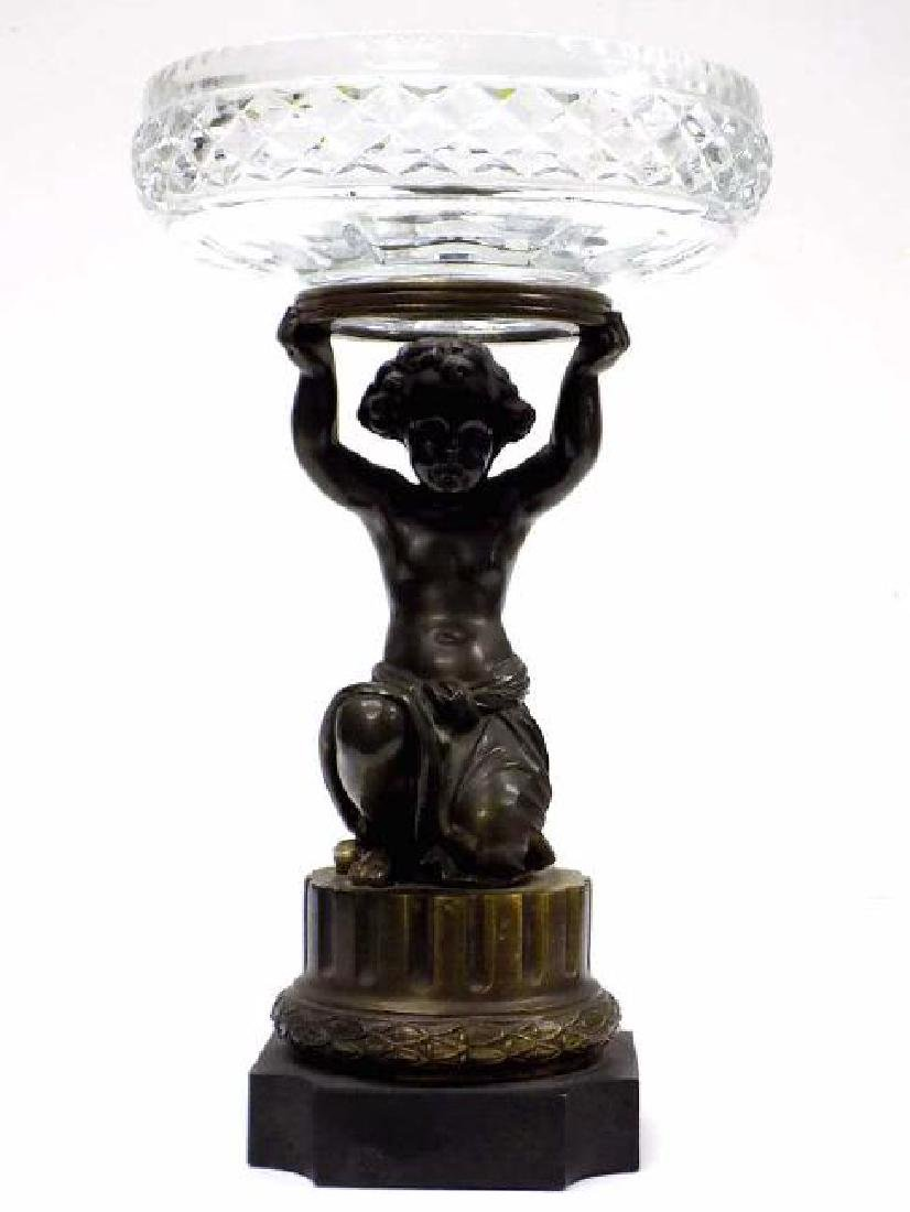 CLASSICAL BRONZED PUTTI & CRYSTAL BOWL CENTERPIEC