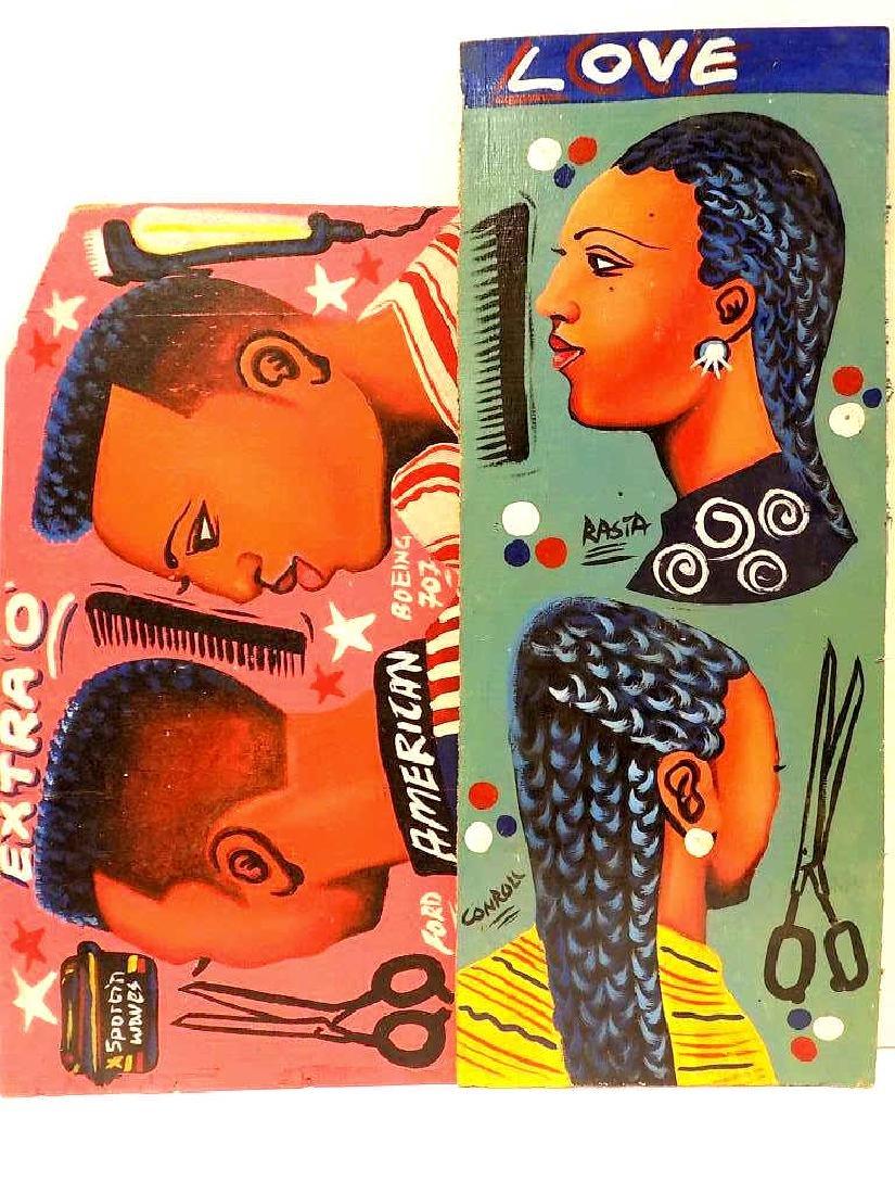 FOLK ART AFRICAN AMERICAN BARBER SIGN PAINTINGS