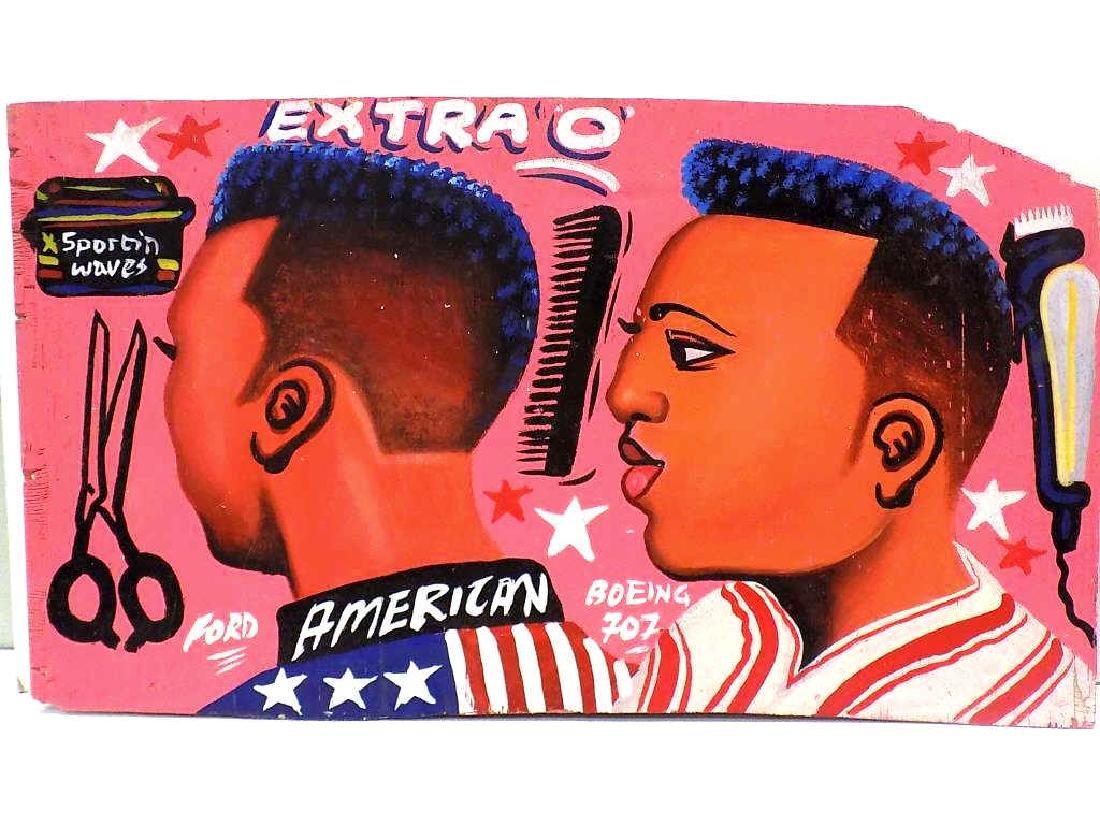 FOLK ART AFRICAN AMERICAN BARBER SIGN PAINTINGS - 2