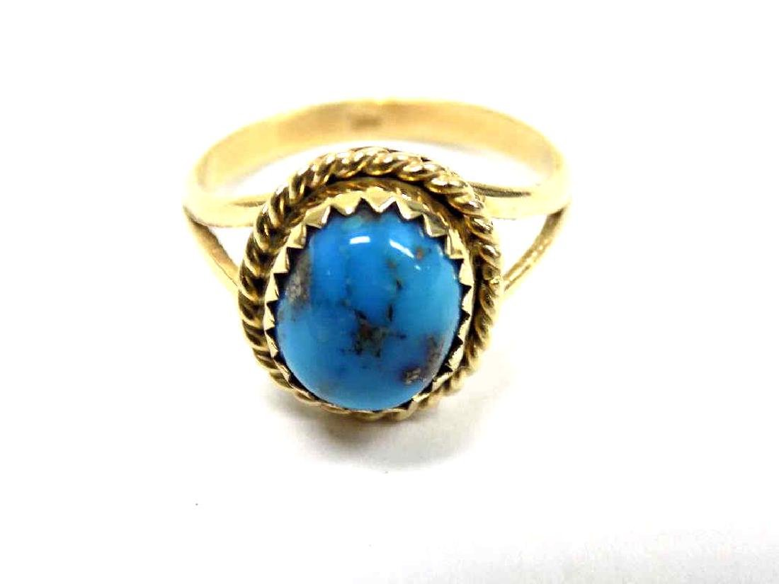 14K YELLOW GOLD & TURQUOISE RING