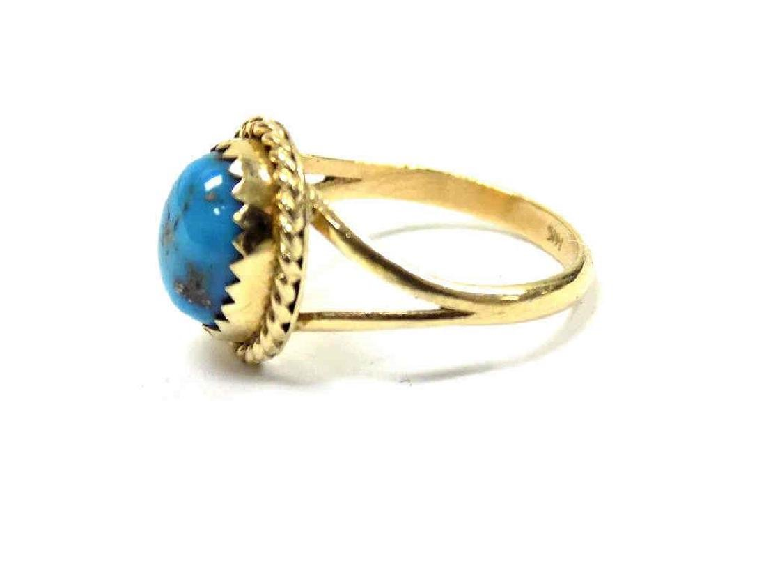 14K YELLOW GOLD & TURQUOISE RING - 2