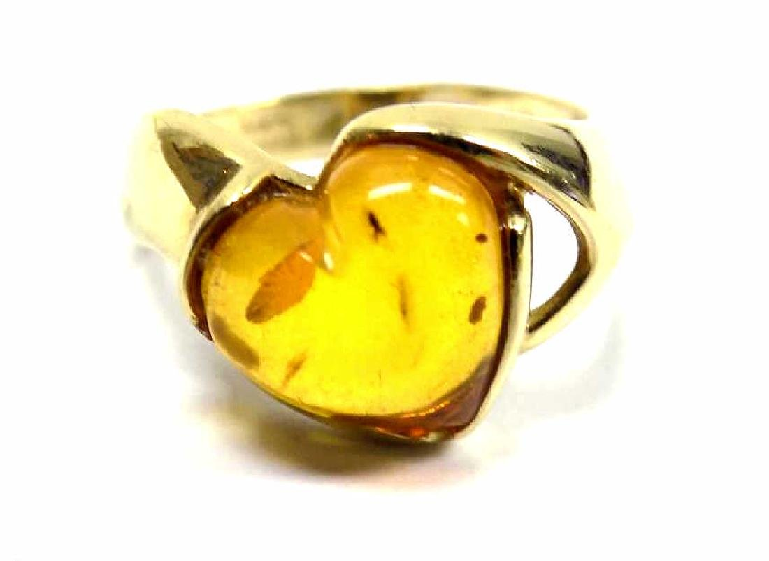 14K YELLOW GOLD AMBER COLOR HEART RING
