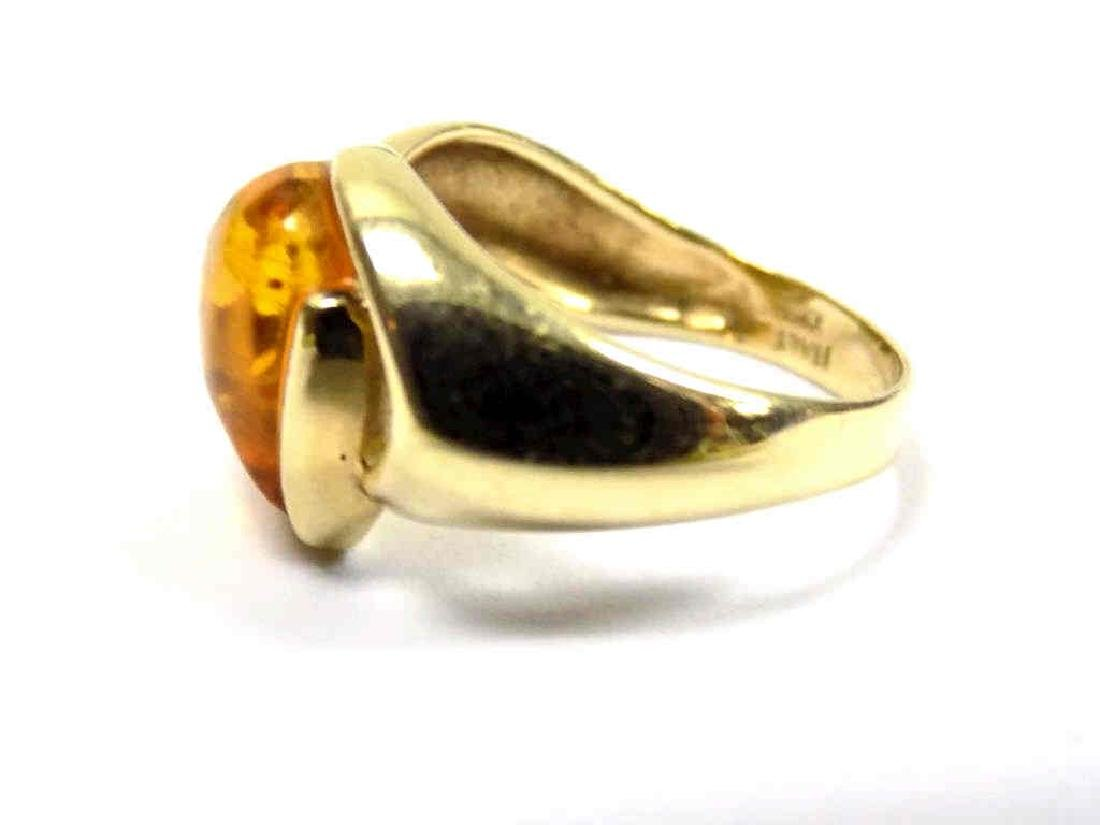 14K YELLOW GOLD AMBER COLOR HEART RING - 2