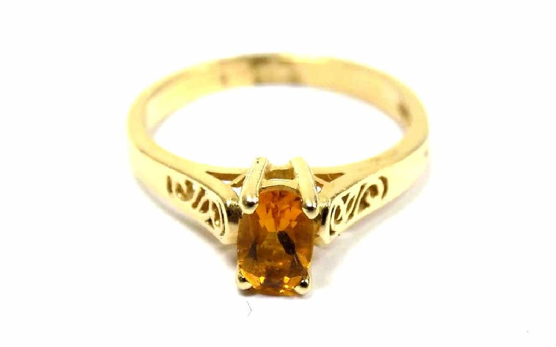 14K YELLOW GOLD & CITRINE FANCY DRESS RING