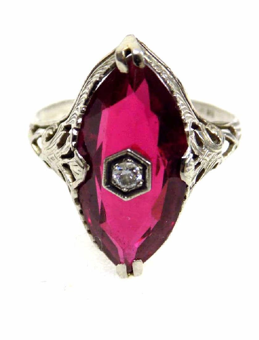 14K WHITE GOLD RUBY & DIAMOND ART DECO FANCY RING