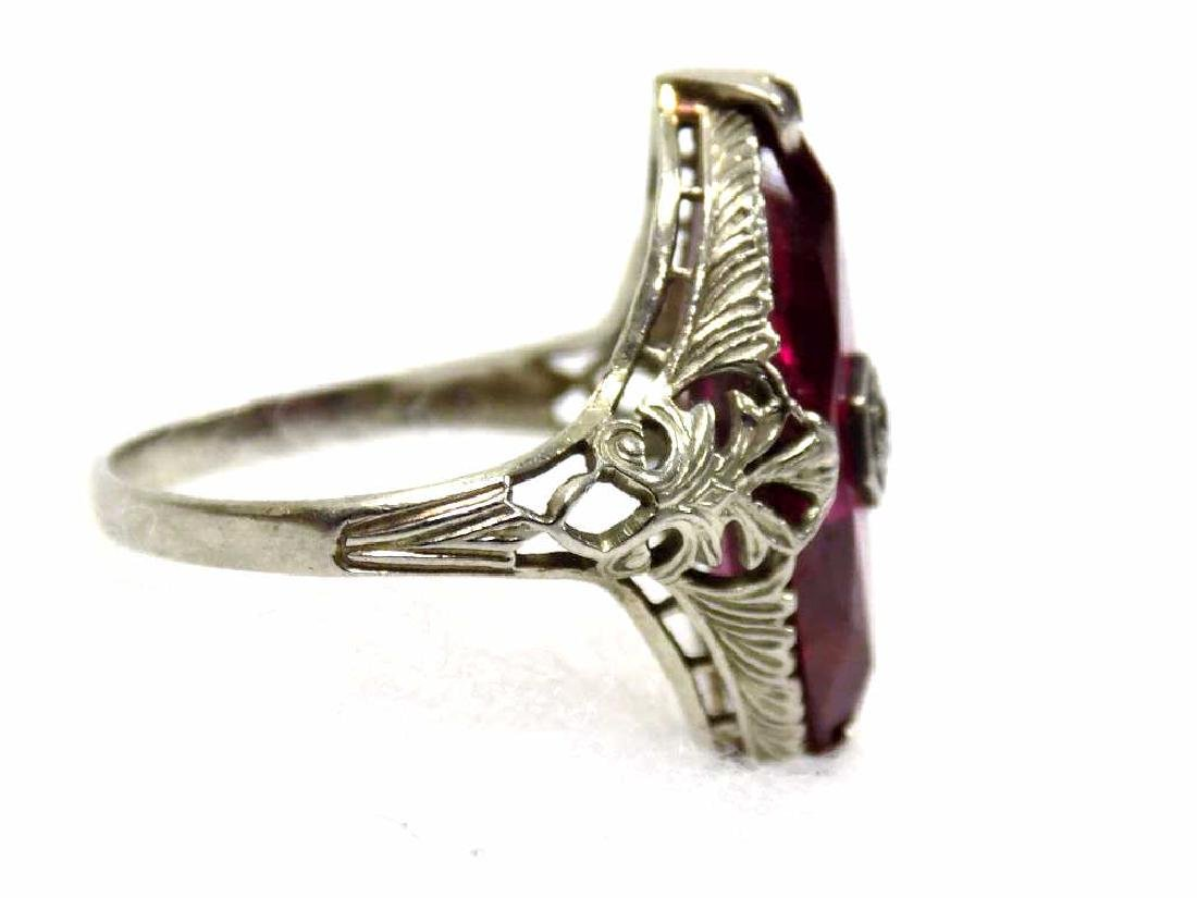 14K WHITE GOLD RUBY & DIAMOND ART DECO FANCY RING - 3