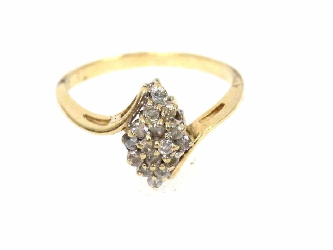 14K YELLOW GOLD & DIAMOND COCKTAIL RING