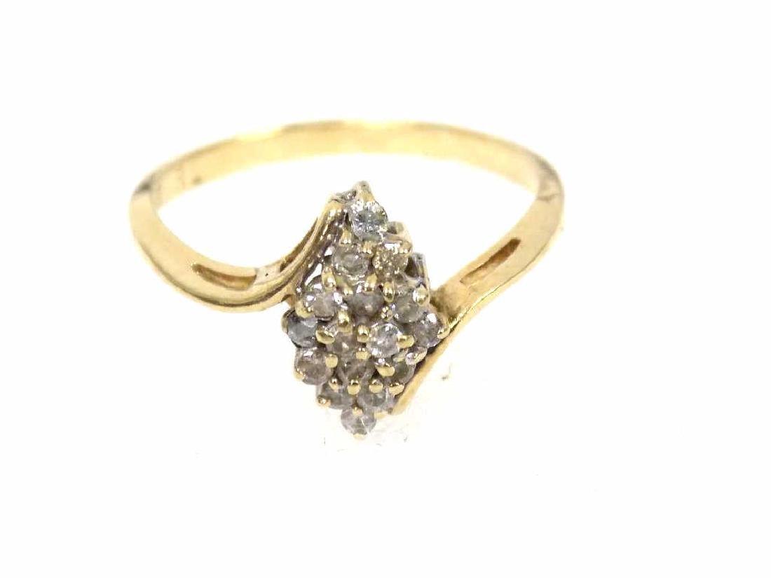 14K YELLOW GOLD & DIAMOND COCKTAIL RING
