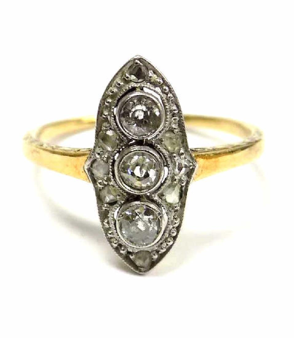 14K YELLOW GOLD PLATINUM TRI DIAMOND ART DECO RING