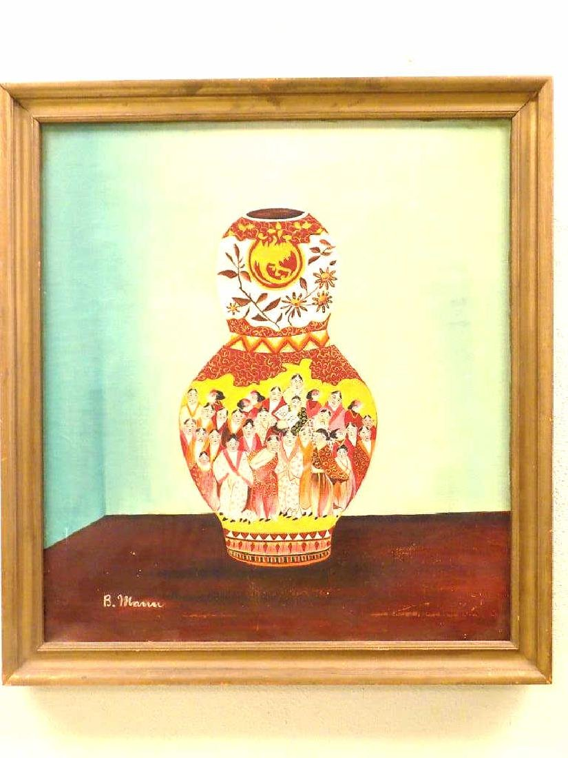 ASIAN SATSUMA VASE STILL LIFE PAINTING