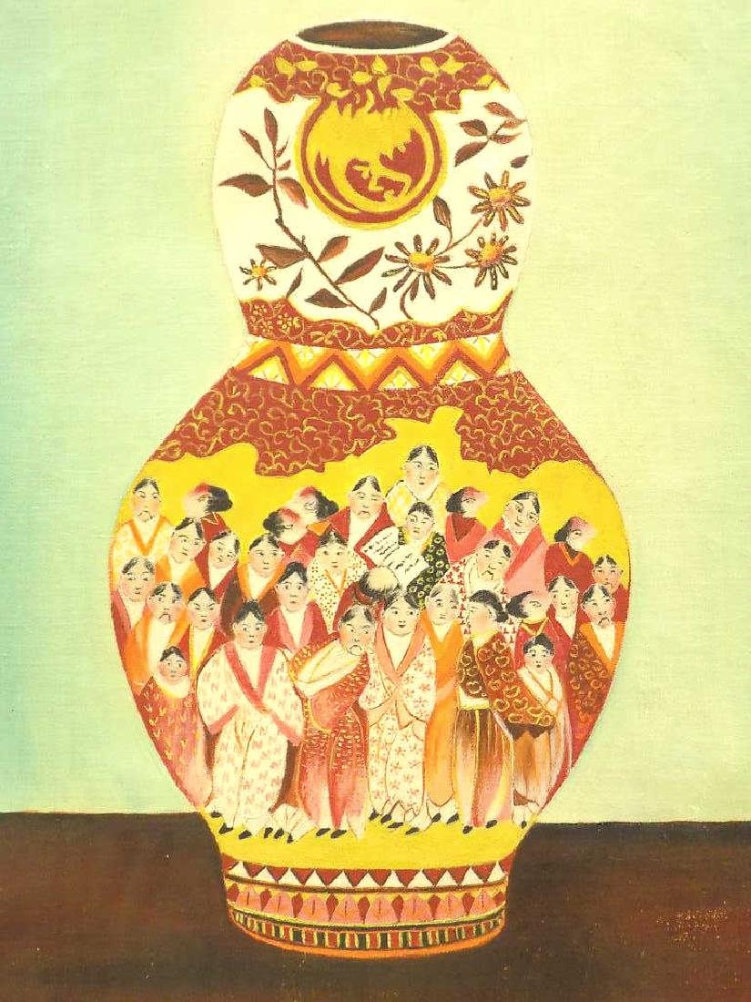 ASIAN SATSUMA VASE STILL LIFE PAINTING - 2