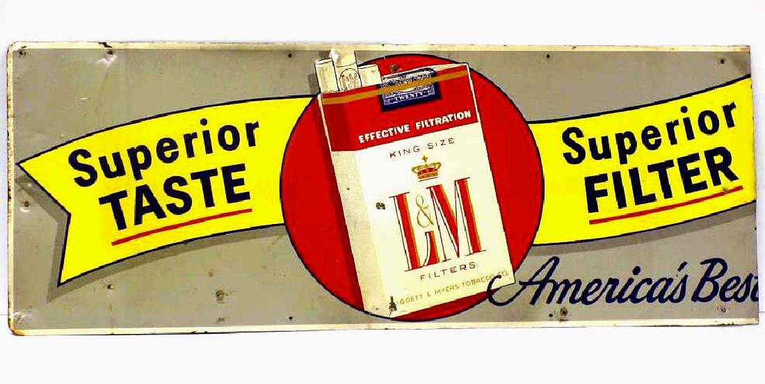 L&M CIGARETTES TOBACCO ADVERTISING METAL SIGN