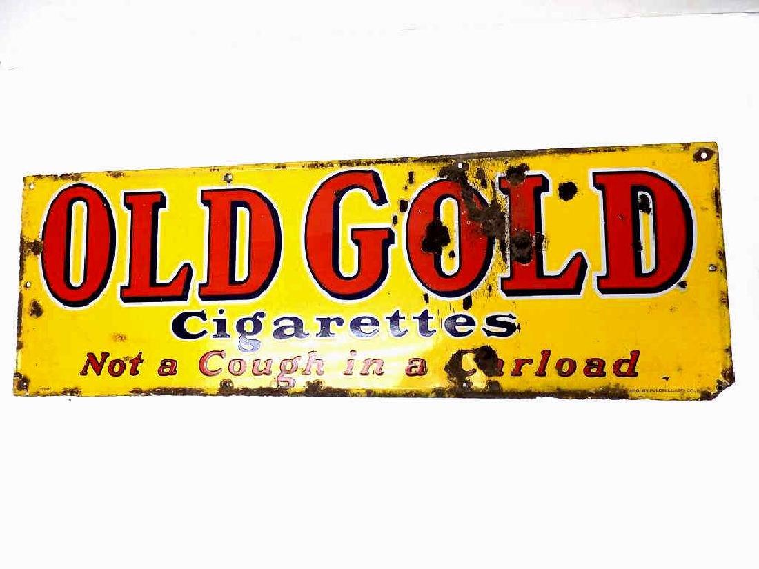 LORRILARD OLD GOLD TOBACCO PORCELAIN STORE SIGN - 2