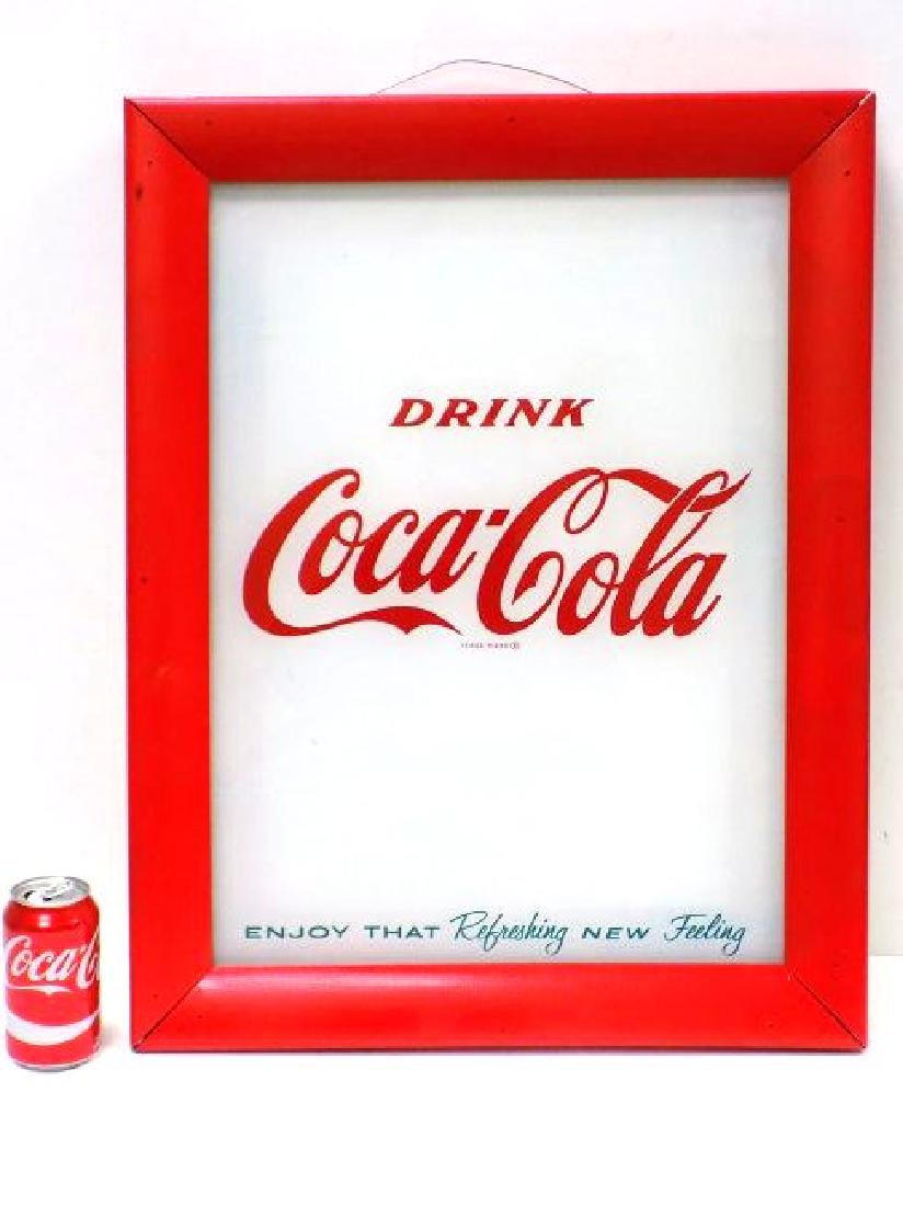 DRINK COCA COLA GLASS STORE ADVERTISING SIGN