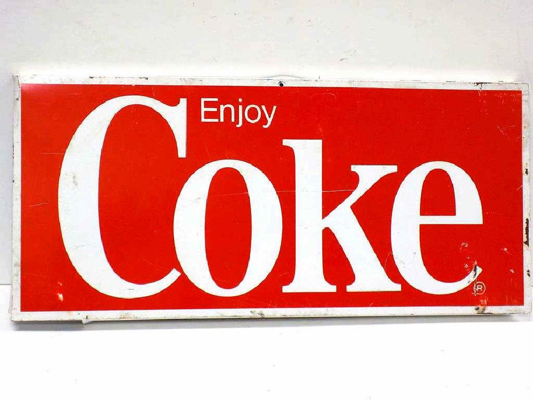 ENJOY COKE / COCA COLA METAL ADVERTISING SIGN