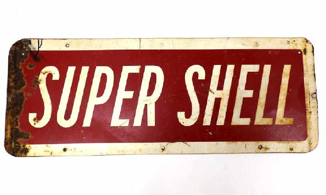 SUPER SHELL GAS STATION ADVERTISING STEEL SIGN