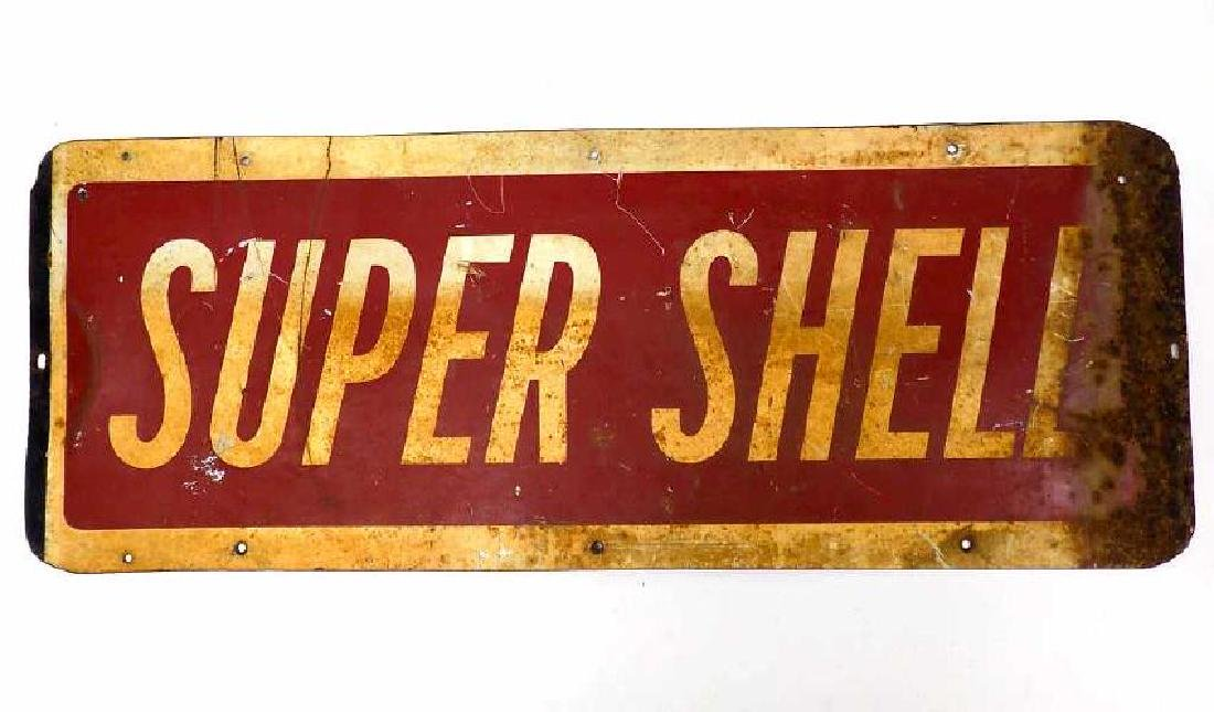 SUPER SHELL GAS STATION ADVERTISING STEEL SIGN - 2
