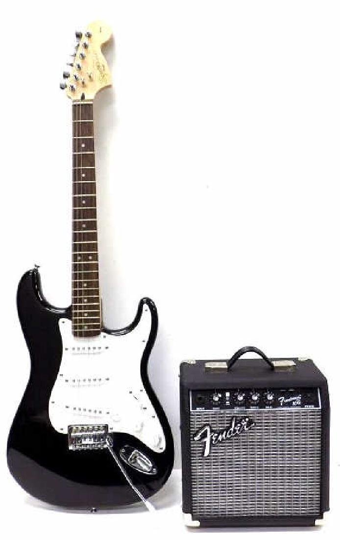 FENDER SQUIER STRATOCASTER GUITAR W/ AMPLIFIER