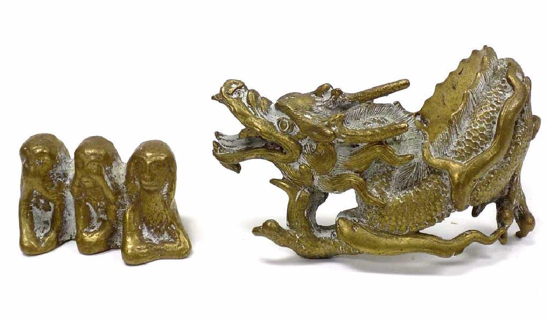 CHINESE BRASS DRAGON AND MONKEY SCULPTURES