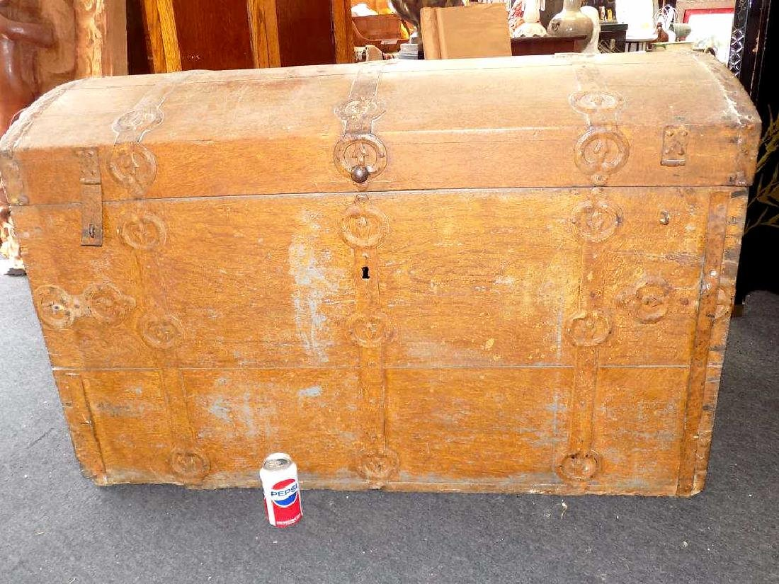 MONUMENTAL 18TH CENTURY MEDIEVALTREASURE CHEST