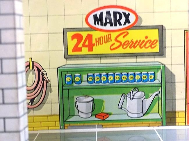 MARX TIN TOY AUTOMOBILE GAS STATION SERVICE CENTER - 4