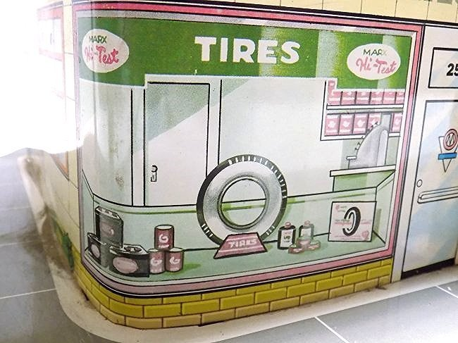 MARX TIN TOY AUTOMOBILE GAS STATION SERVICE CENTER - 5