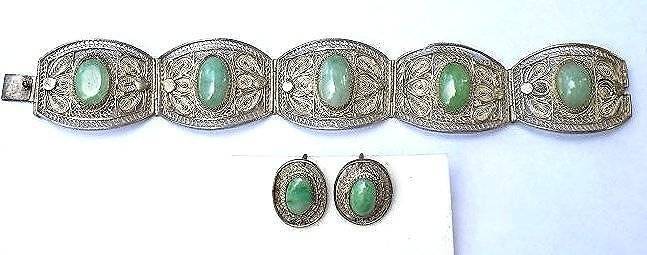 CHINESE SILVER JADE LOTUS BRACELET & EARRINGS