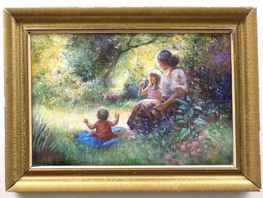 SANDARIA ? LUMINOUS MOTHER & CHILDREN PAINTING