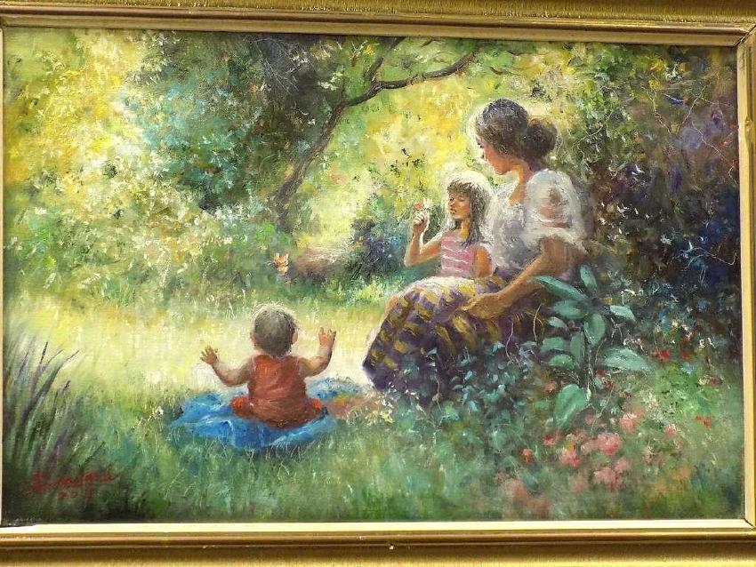 SANDARIA ? LUMINOUS MOTHER & CHILDREN PAINTING - 2