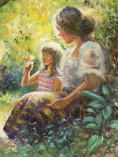 SANDARIA ? LUMINOUS MOTHER & CHILDREN PAINTING - 3