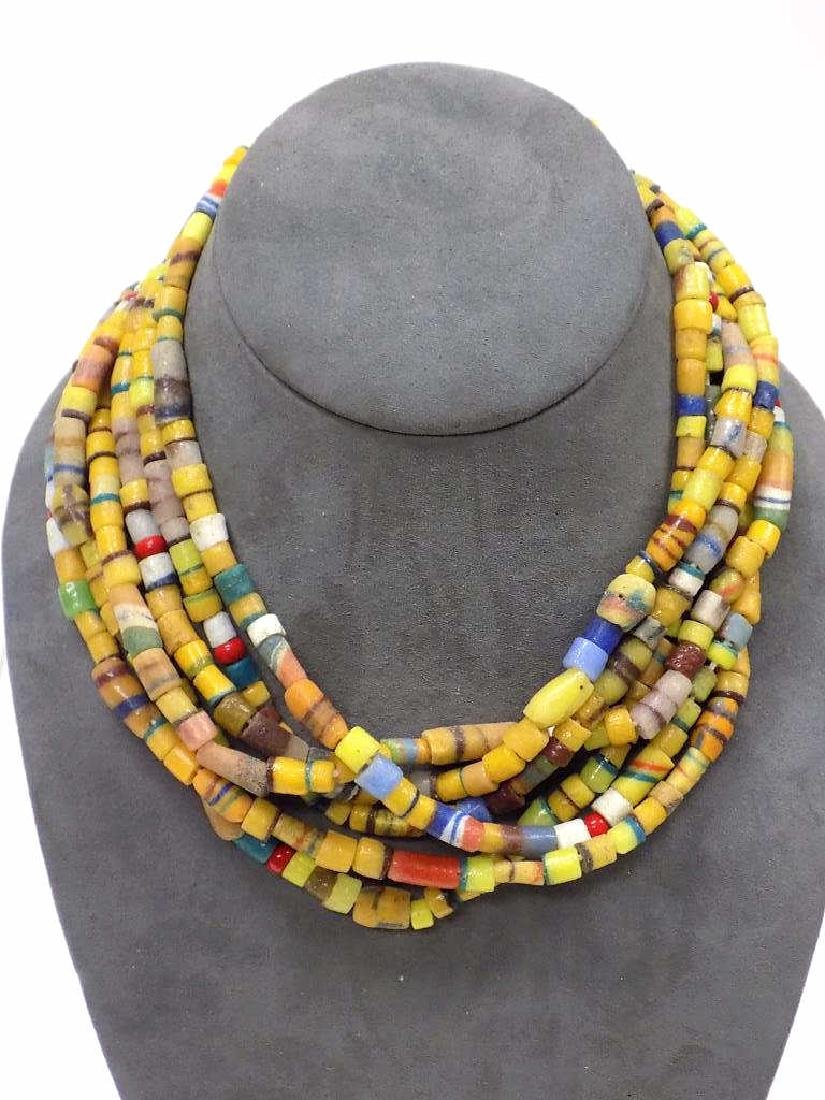 3 AFRICAN TRADE BEAD DOUBLE LENGTH NECKLACE