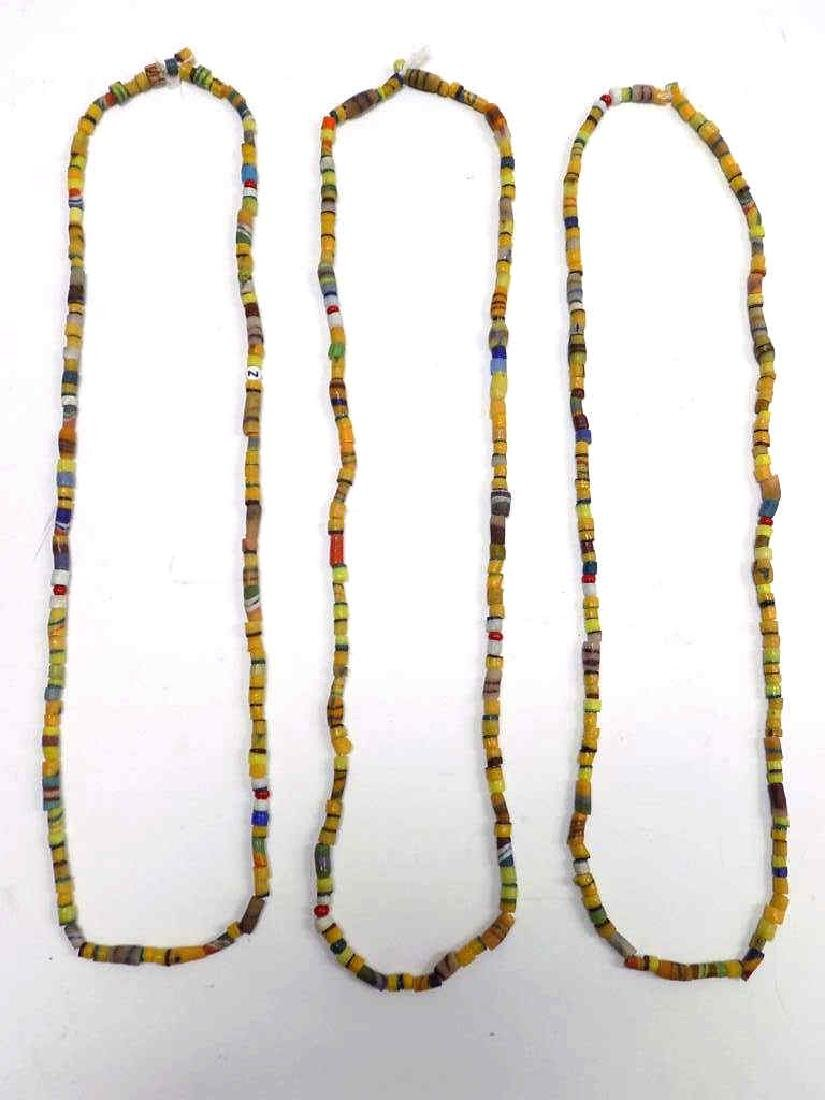 3 AFRICAN TRADE BEAD DOUBLE LENGTH NECKLACE - 3