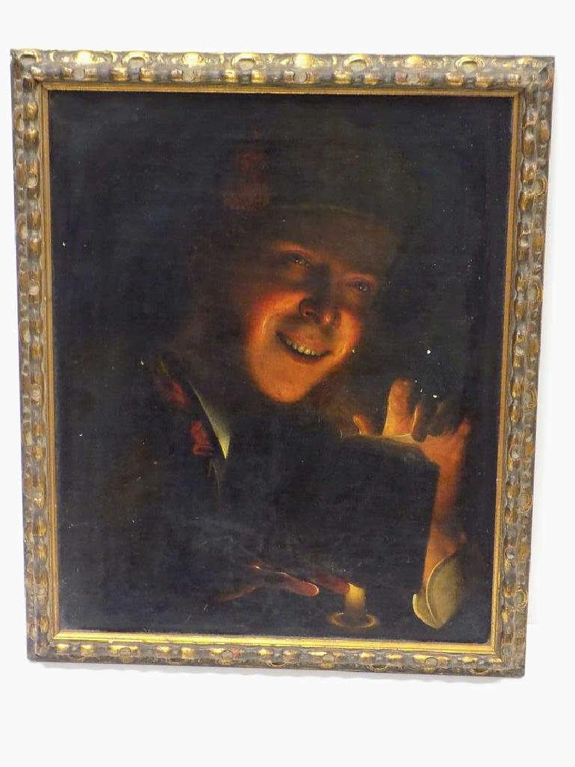 OLD MASTER CANDLELIGHT READER PAINTING