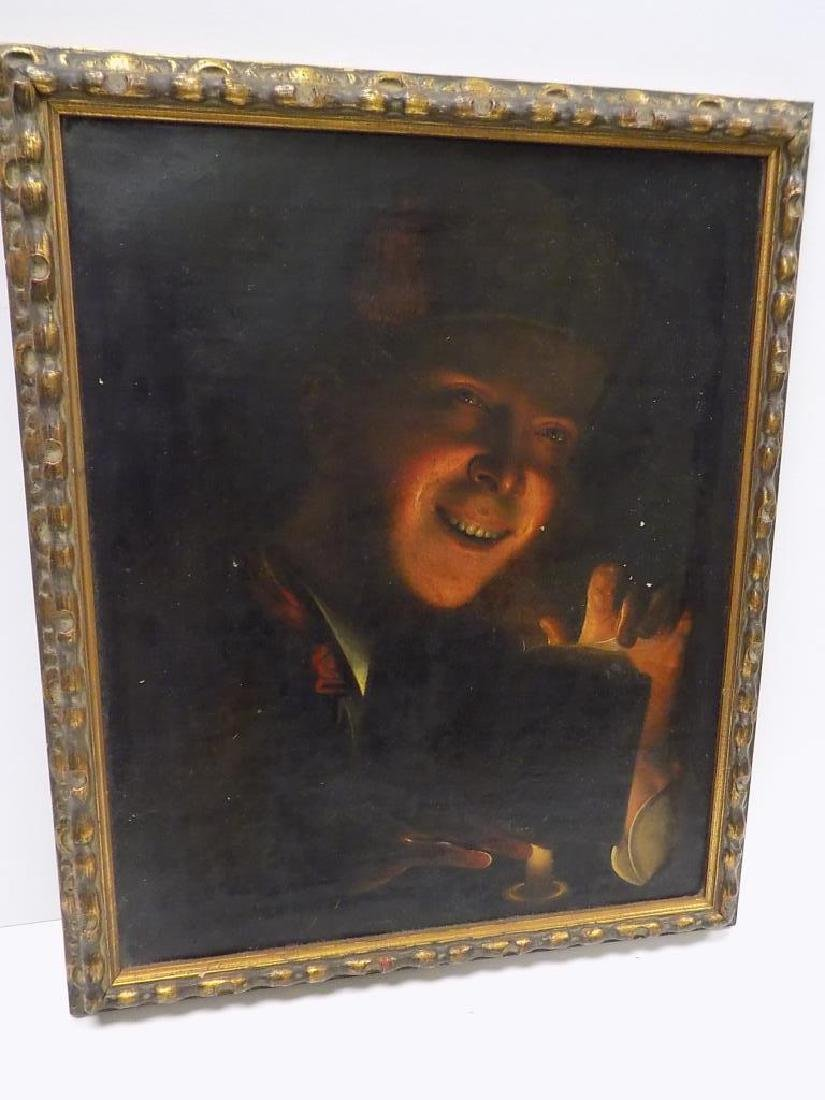 OLD MASTER CANDLELIGHT READER PAINTING - 2
