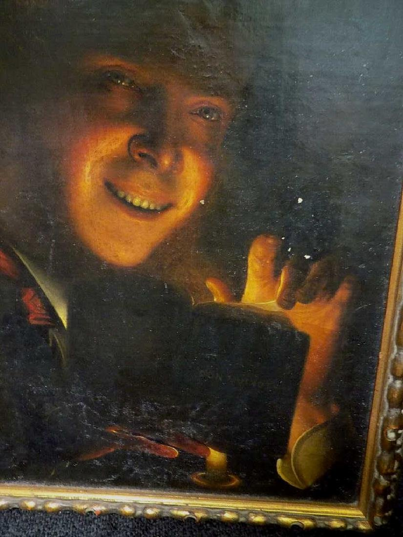 OLD MASTER CANDLELIGHT READER PAINTING - 3
