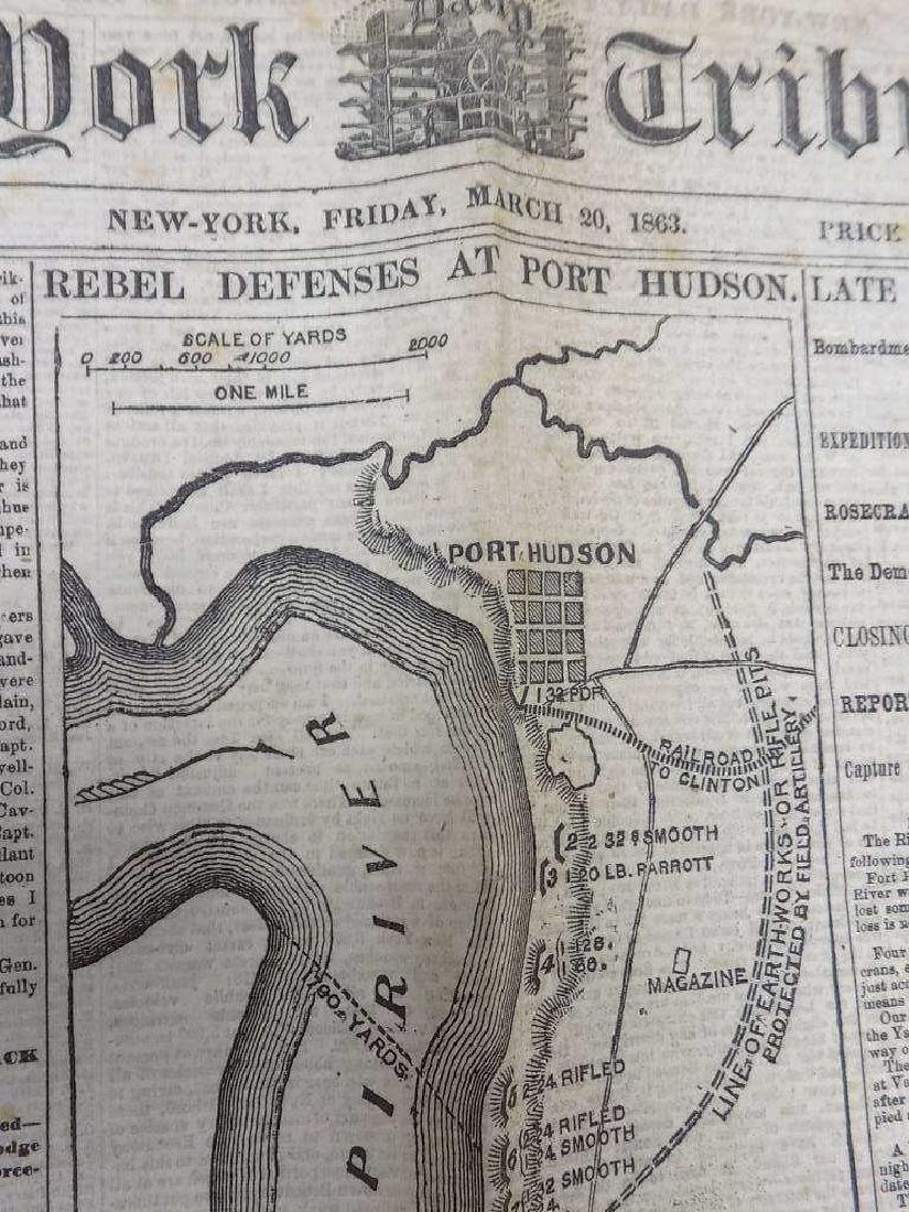 1863 NEW YORK TRIBUNE NEWSPAPER CIVIL WAR HEADLINE - 2