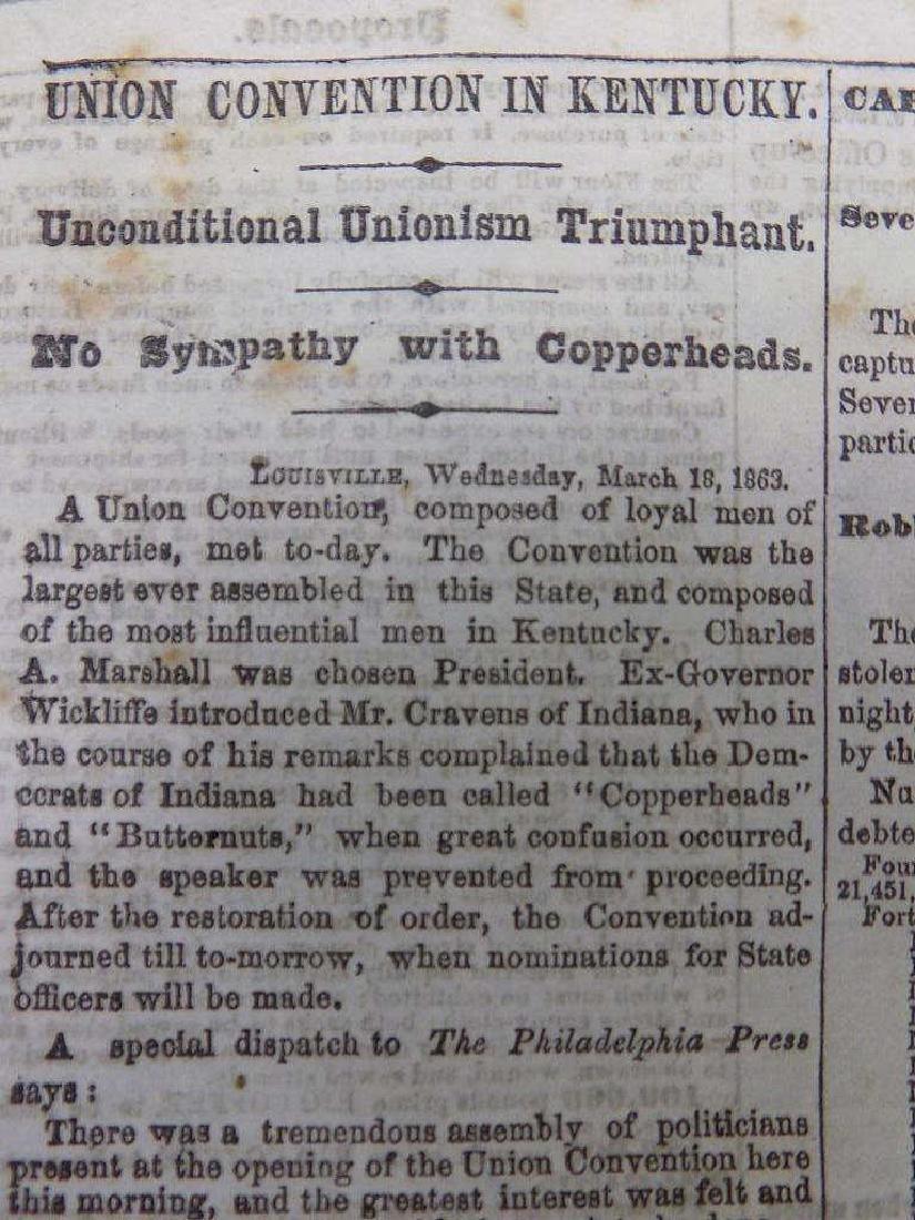 1863 NEW YORK TRIBUNE NEWSPAPER CIVIL WAR HEADLINE - 3