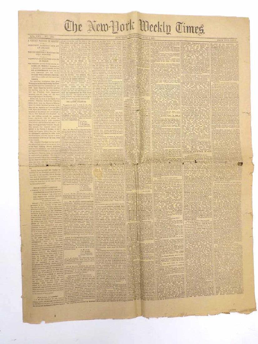 1881 NEW YORK WEEKLY TIMES GARFIELD SHOT NEWSPAPER
