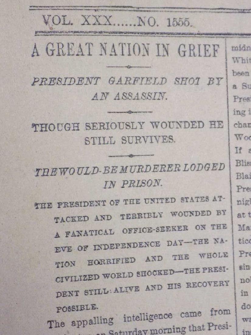 1881 NEW YORK WEEKLY TIMES GARFIELD SHOT NEWSPAPER - 2
