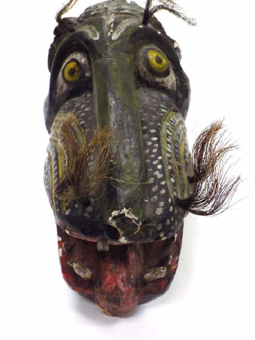 AFRICAN WOOD CARVED CEREMONIAL ANIMAL HEAD - 2