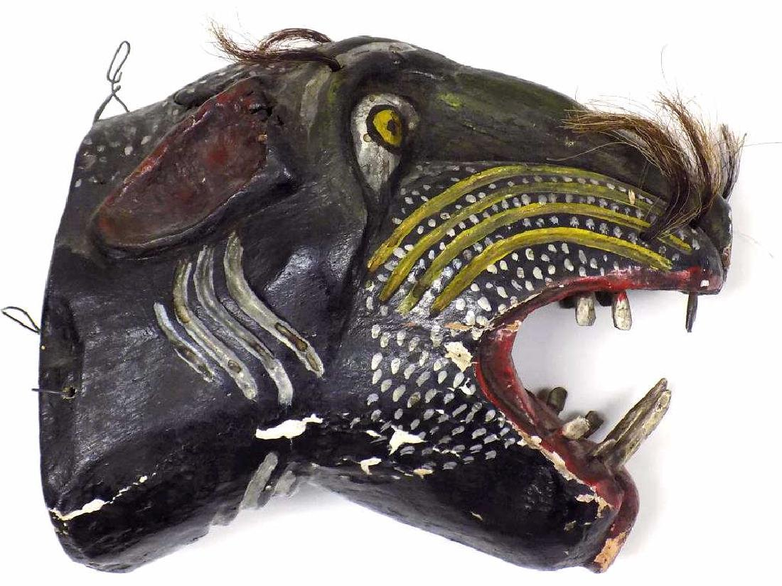 AFRICAN WOOD CARVED CEREMONIAL ANIMAL HEAD - 3